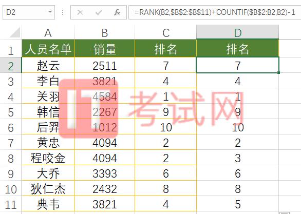rank函数不出现相同排名2
