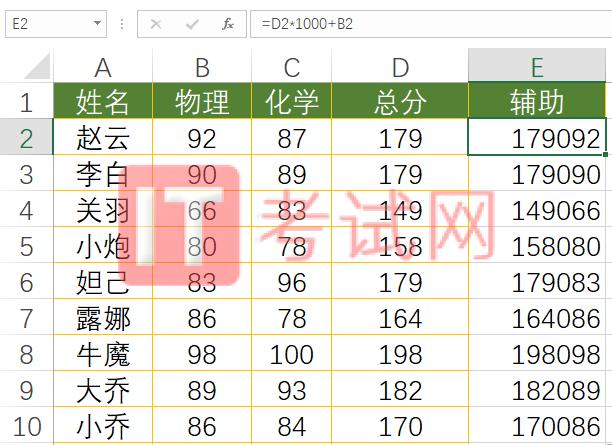 rank函数多条件排名2